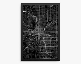 Indianapolis City Street Map, Indianapolis Indiana USA, Modern Art Print, Indianapolis Office Decor Idea, Indianapolis Home Decor Idea