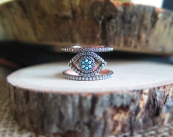Thick evil eye ring