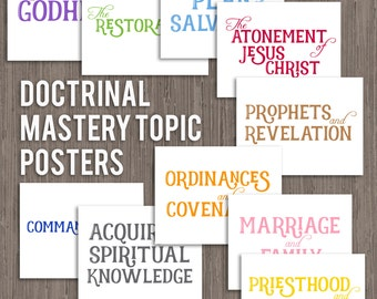 LDS Seminary Doctrinal Mastery Topic Posters ON WHITE-instant digital download-8.5x11