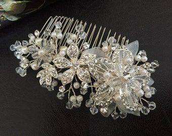 Bridal Hair Accessories, Wedding Head Piece, Ivory Pearl, Rhinestone, Comb