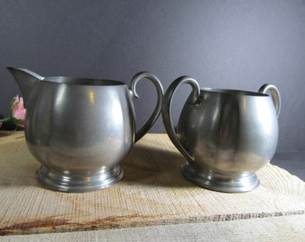 Crescent Pewter Cream and Sugar Set #1631 Vintage Collectibles Metalware Replacements, Home and Farmhouse Decor, Kitchen & Dining,