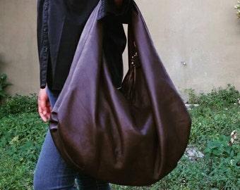BROWN Large hobo Bag, brown soft leather hobo bag, leather hobo bag, boho bag, hobo bag large, brown leather bag, hobo bag brown, genuine le