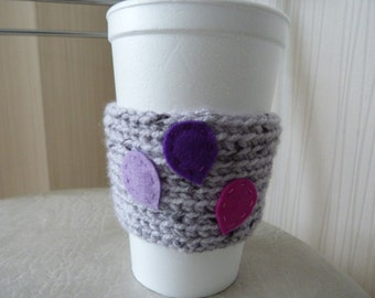 ON SALE Knitted Cup Cozy/ Coffee Cup Cozy with balloons/ Grey Coffee Cozy /Knit Cup Cozy
