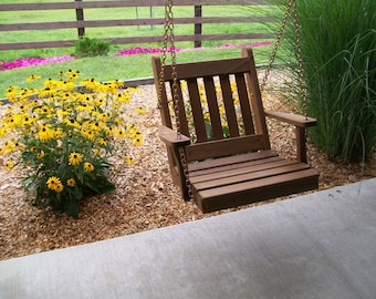 2 Foot Royal English Cedar Porch Swing Chair - *UNFINISHED* Handmade - Amish made in the USA