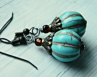 RTS Turquoise Pumpkin Gourd Dangle Earrings for Fall Autumn with Howlite