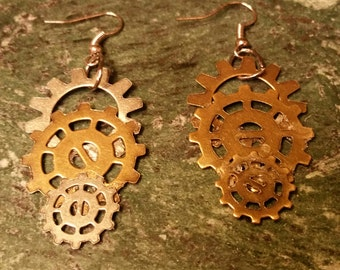 Bronze gear earrings