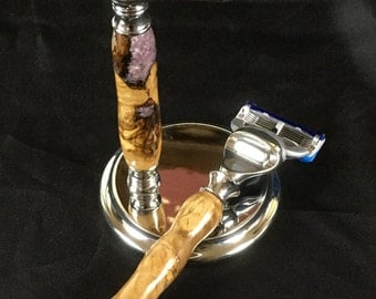 Olive Wood Gillette Fusion Razor with Stand and Lepidolite Inlay