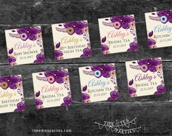 Purple Plum Floral Tea Bag Tags - Bridal Tea - Baby Shower - Kitchen Tea - High Tea - Birthday Tea party. Printable.
