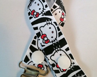 Hello Kitty Zebra Pacifier Clip
