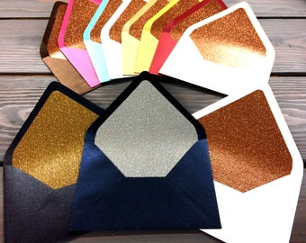 25 Glitter LINERS - for Euro Envelopes (Pointed Flap)