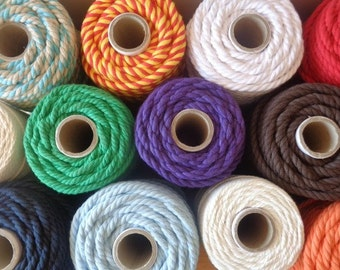 10 rolls Of Twisted Cotton Rope 4.5mm (6mm width)  Multi color