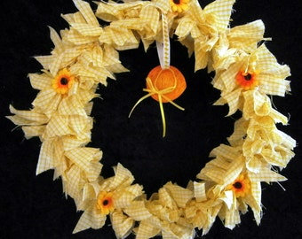 Summer Yellow Gingham Rag Wreath