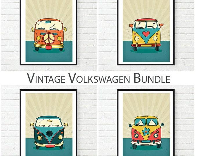 Vintage Volkswagen Poster Set / Volkswagen Printable Poster / Hippie Volkswagen Posters / Printable Posters Set / Volkswagen Wall Art