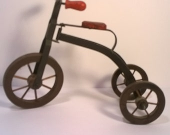 Vintage Metal and Wooden Toy Tricycle