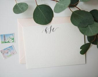 Monogrammed Stationery | Set of 15 Cards | Original Calligraphy