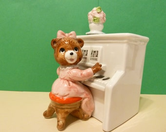 1983 Music Box, Female Bear playing a tune on Piano, by: Quon-Quon