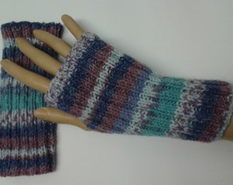 Stripy fingerless gloves - fingerless gloves - handwarmers - knitwear - ribbed - stripy - accessories - hand knit - multicoloured