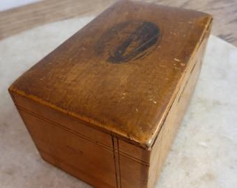 Antique Mauchlin Ware wooden money box moneybox The Pier Southsea Hants
