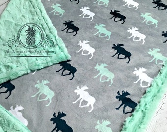 Moose Baby Blanket - Designer Minky Grey, Mint, White and Navy - Mint