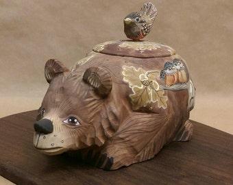 Russian Hand carved Bear/Bird Box