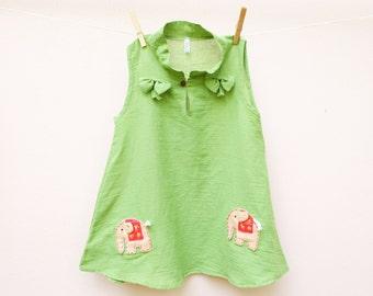 Girl dress/Cotton Elaphants Dress (Green)