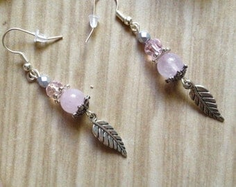 Rose Quartz Fly me Away Feather earring