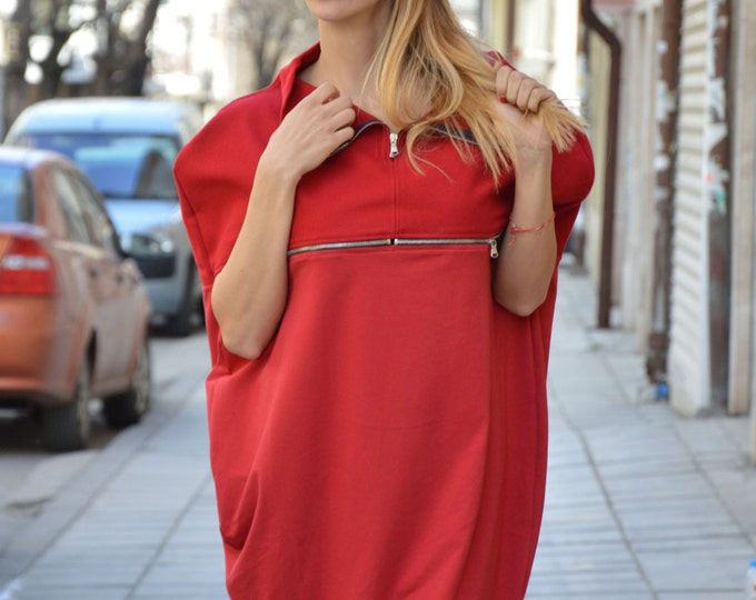 Maxi Red Extravagant Dress, Wool Tunic With Zipper, Womens Loose Tunic Top, Oversize Party Dress by SSDfashion