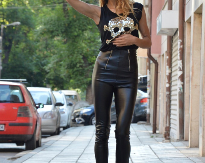 Black Leather Leggings, High Waist Pants With Zippers, Extra Long Pants, Tight Extra Long Leggings By SSDfashion