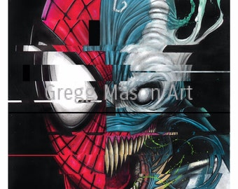 Spiderman/Venom Poster Artwork Print - Signed
