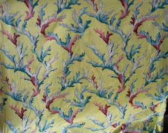 bark cloth 1950s sea coral