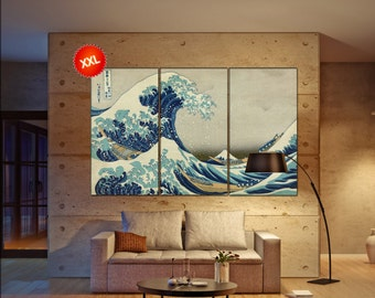 The Great Wave off Kanagawa wall art print prints on canvas  Katsushika Large The Great Wave  - Hokusai photo art work framed art artwork
