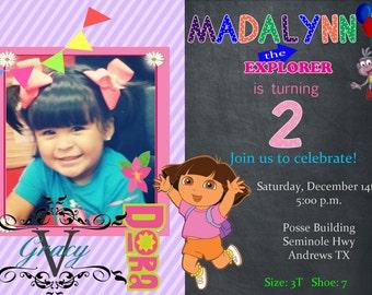 Dora Birthday Invitations 4x6 or 5x7 Digital File