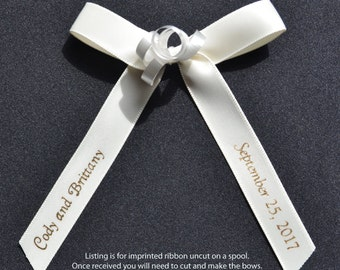 "100 Personalized 5/8"" Satin Ribbons for Wedding Favors, Birthday Favors or Baby Shower Favors."