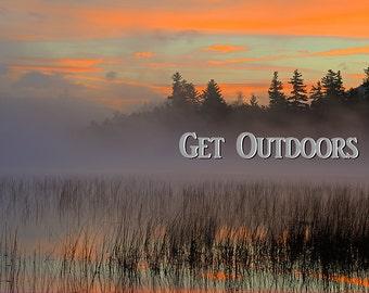 Get Outdoors, Adirondack Sunrise, Inspirational Photo, Photographic Sunrise, Landscape Art, Mountain Photo, Nature Print, Lake Placid