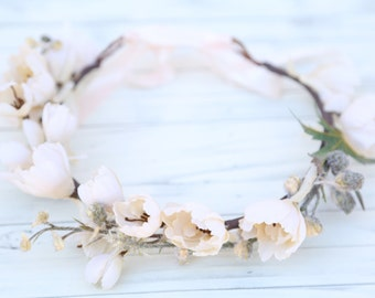 Pastel cream ivory flower crown, Flower headband, headband, wedding flower crown, bridal flower crown, bohemian flower crown