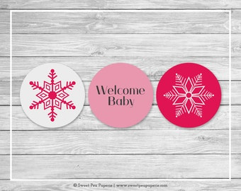 Winter Wonderland Baby Shower Cupcake Toppers - Printable Baby Shower Cupcake Toppers - Winter Wonderland Baby Shower - Toppers - SP115