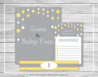 Twinkle Little Star Baby Shower Guess The Baby Food Game - Printable Baby Shower Guess The Baby Food - Twinkle Little Star Shower - SP117