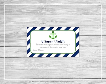 Nautical Baby Shower Diaper Raffle Insert - Printable Baby Shower Diaper Raffle Cards - Navy Green Baby Shower - Diaper Raffle Cards - SP120