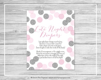 Pink and Silver Baby Shower Late Night Diapers Sign - Printable Baby Shower Late Night Diapers - Pink and Silver Glitter Baby Shower - SP123