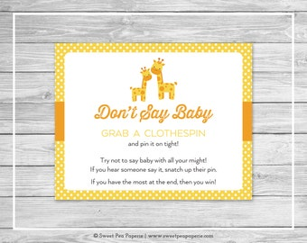 Giraffe Baby Shower Don't Say Baby Game - Printable Baby Shower Don't Say Baby Game - Yellow Giraffe Baby Shower - Don't Say Baby - SP131