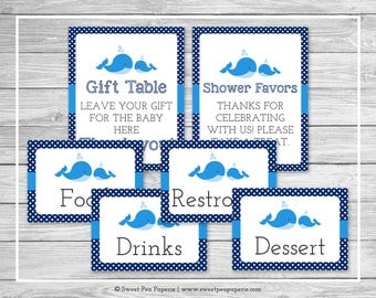 Whale Baby Shower Table Signs - Printable Baby Shower Table Signs - Blue Whale Baby Shower - Baby Shower Signs - EDITABLE - SP127