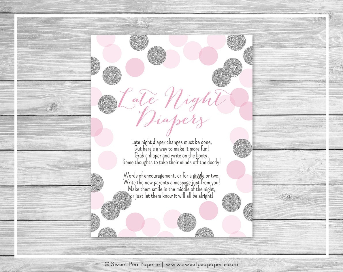 pink and silver baby shower late night diapers sign