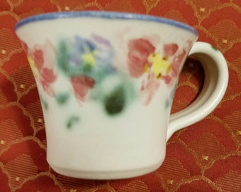 Marked Folsom California Clouds Porcelain Handmade Art Pottery English Garden Pattern Coffee Mug White Ground Cup Pink Florals Blue Banding