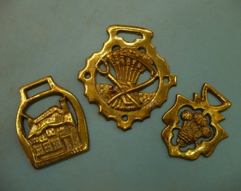Brass Horse Bridle Ornaments/Medallions, set of 3
