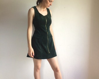 1960s Corduroy zip up Handmade Mini Dress!