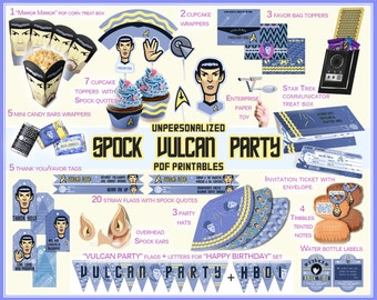 Spock, Star Trek Party, Star Trek birthday, Star Trek printable, Star Trek invitation, Spock quotes, decorations, candy wrappers, digital