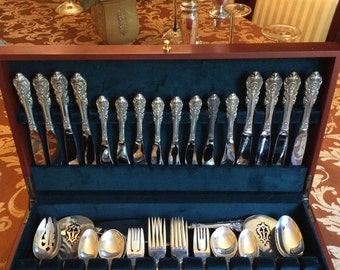 Wallace sir christoper sterling silver flatware55 pc,sets 8+servers