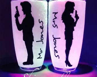 Mr & Mrs glitter glasses