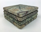 Stone Coasters – Rain Forest Green Marble Stone Coasters with Cork Backing Set of 4
