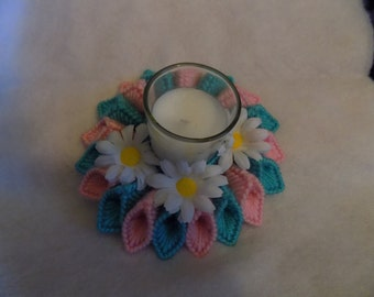 pink and teal candle holder